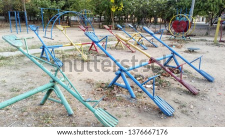 Many devices of plaything for children to play on the playground. #1376667176