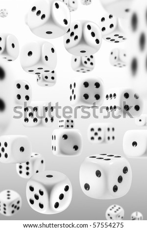Many dice flying through the perspectives