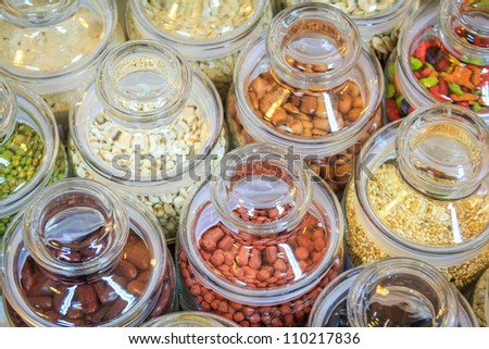 Many Difference Grains In Bottles