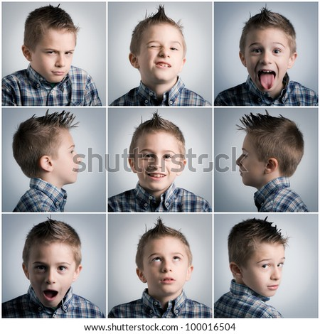 many different boy expressions