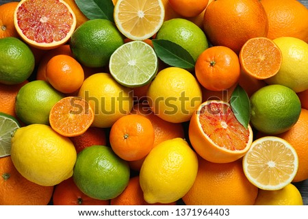 Many different citrus fruits as background, top view #1371964403