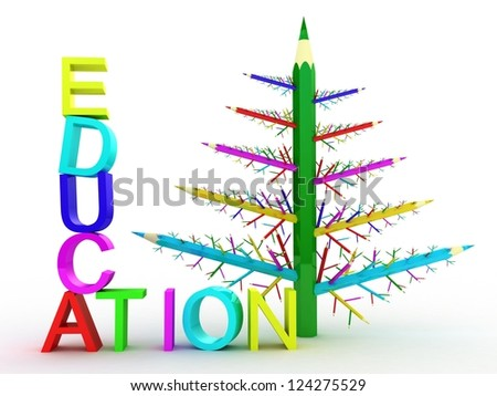 Many different color pencils in the form of a tree on white background