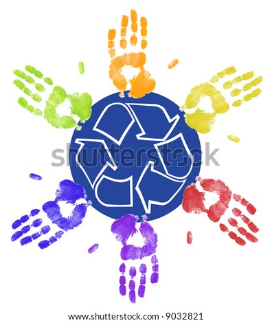 many different colored hands working to recycle together