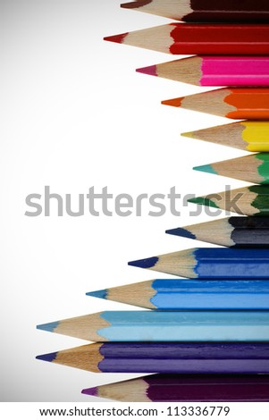 Many different colored pencils. Color pencils isolated on a white background.