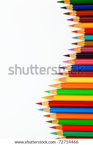 Many different colored pens. Color pencils isolated on a white background. - stock photo