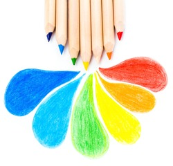 Many different colored Rainbow pencils school supplies  on white background