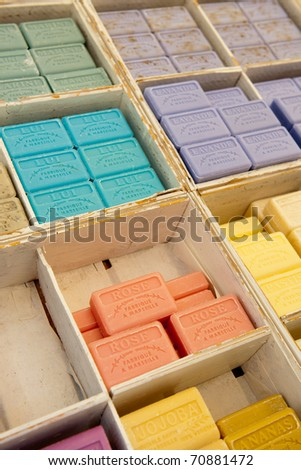 many different colorful soap bars in the Provence from Marseille