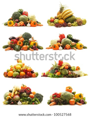 Many different fruits and vegetables isolated on white