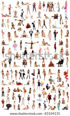 Many different girls isolated on white background