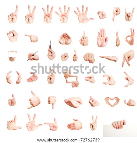 Many different hand signs isolated on white
