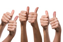 Many different hands with thumb raised up, isolated on a white background. Symbol of approval and consent