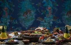 Many different indonesian food dishes. Various indonesian bali food