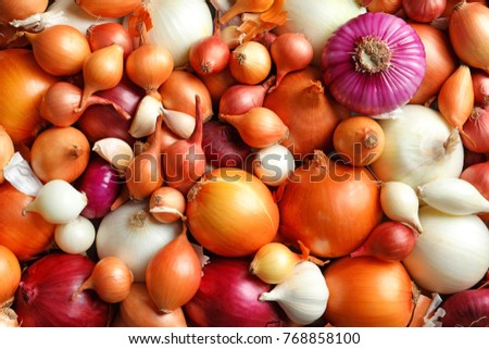 Many different onions, closeup