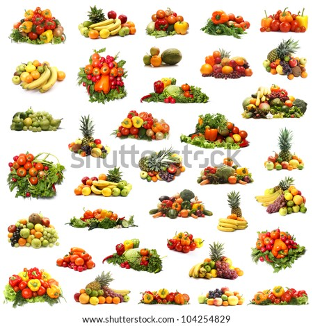 Many different piles of fruits and vegetables isolated on white