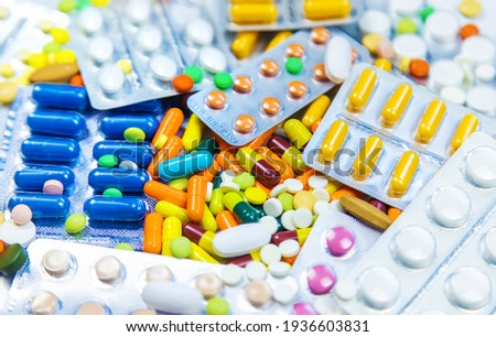 Many different pills and capsules. Selective focus. medicine. Сток-фото ©