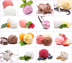 Many different scoops of ice cream