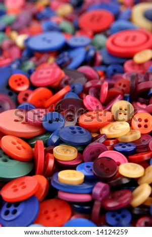 Many different sized and shaped buttons