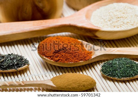 many different spices in spoons
