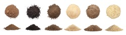 Many different types of soil on white background