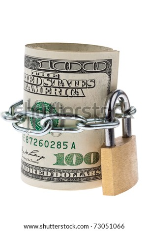 Many dollar bills are locked with a lock