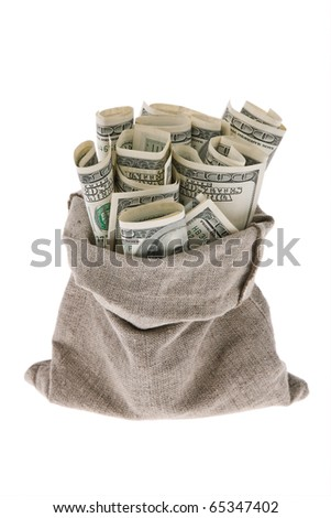 Many dollar bills in a bag