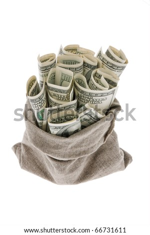 Many dollar bills in a bag. symbopl for taxes