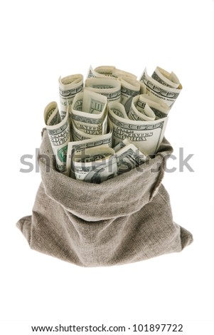 many dollar bills in a sack