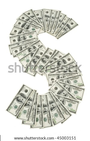Many 100 dollar bills layed out in an S pattern