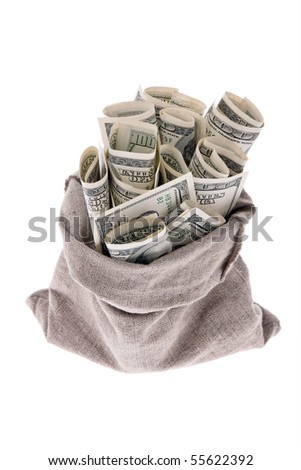 Many dollars bills in a sack