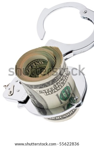 Many dollars bills with handcuffs
