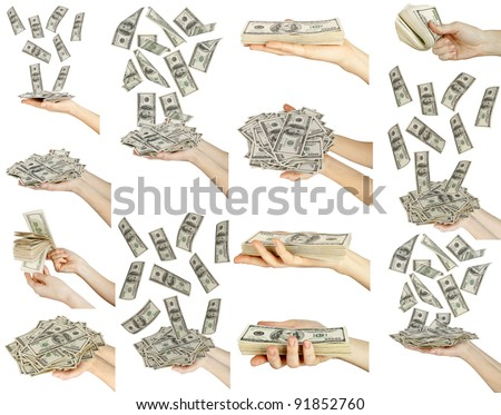 Many dollars on falling hand with money. business collection