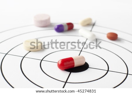 Many drugs placed on a target that show that they hit the target