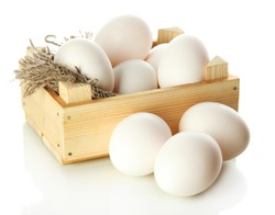 Many eggs in box isolated on white