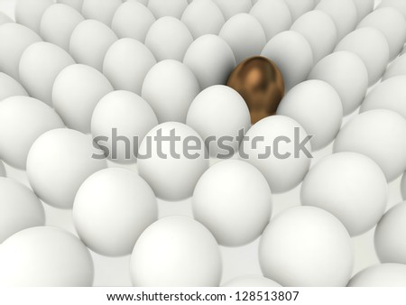 many eggs lined up in rows with special gold one