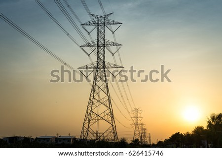 Many electrical towers in the city