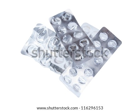 Many empty use pack without medical pills isolated on white background