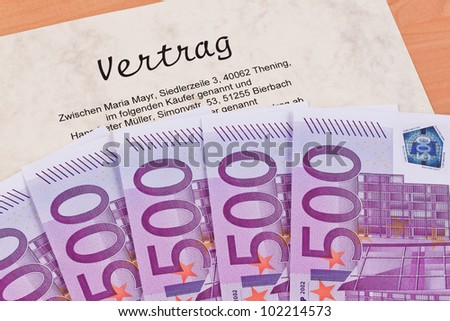 many euro bank notes and contracts