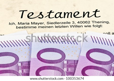many euro banknotes and testament in german