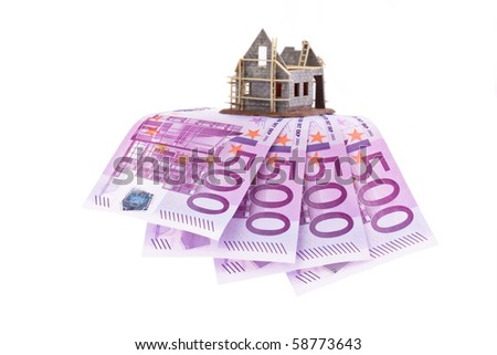 Many euro notes and shell of a house