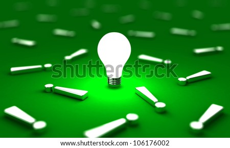 Many exclamation mark with one lightbulb on a green background