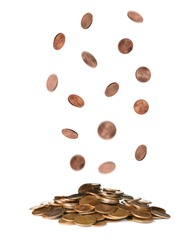 Many falling coin into pile on white background. Financial concept