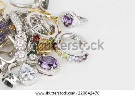 Many fashionable women's jewelry - Stock Image macro. Stock photo ©
