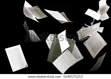Many flying business documents isolated on black background Papers flying in air in business concept Сток-фото ©