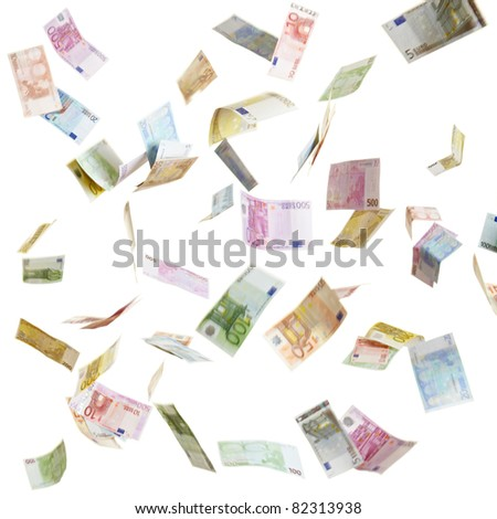 Many flying Euro currency paper money in the air