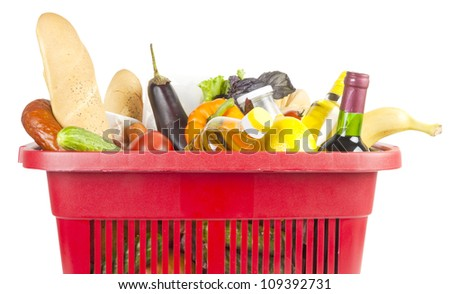 Many food and drinks in shopping basket