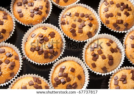 Many fresh and tasty home baked chocolate muffins