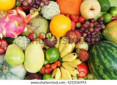 Many fresh fruits mixed together #421036993