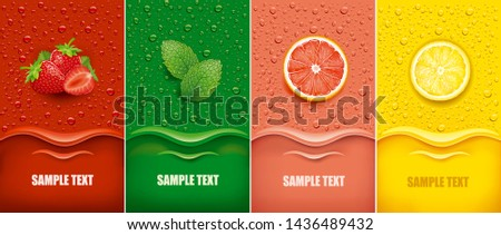 many fresh juice drops background with strawberry, mint, lemon, grapefruit