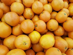 Many Fresh Oranges stacked and scattered on tray at supermarket and can help prevent kidney diseases and  Oranges contain phytochemicals that protect against cancer.