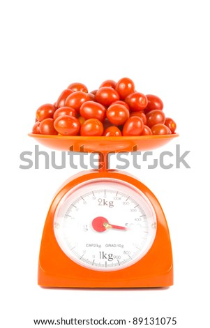 many fresh small tomato lying on weight scale